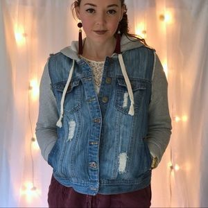 Forever 21 Jean and Sweatshirt Hooded Jacket